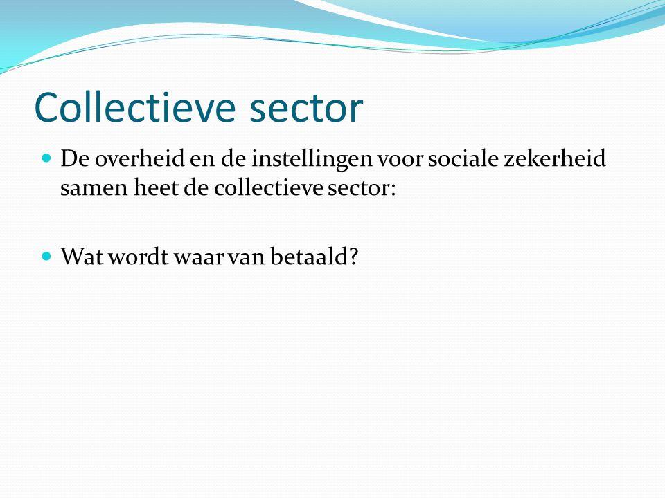 Collectieve sector De overheid en de instellingen voor sociale zekerheid samen heet de collectieve sector:
