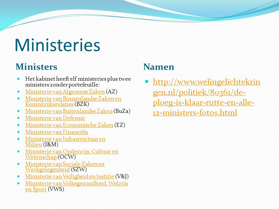 Ministeries Ministers Namen