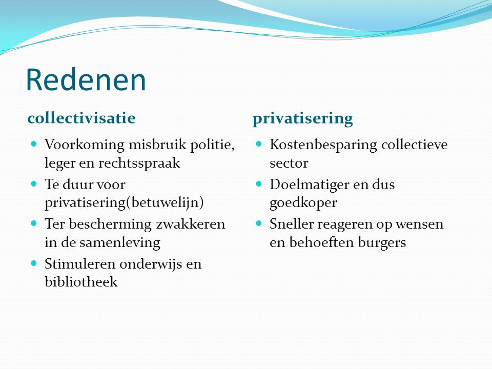 Redenen collectivisatie privatisering