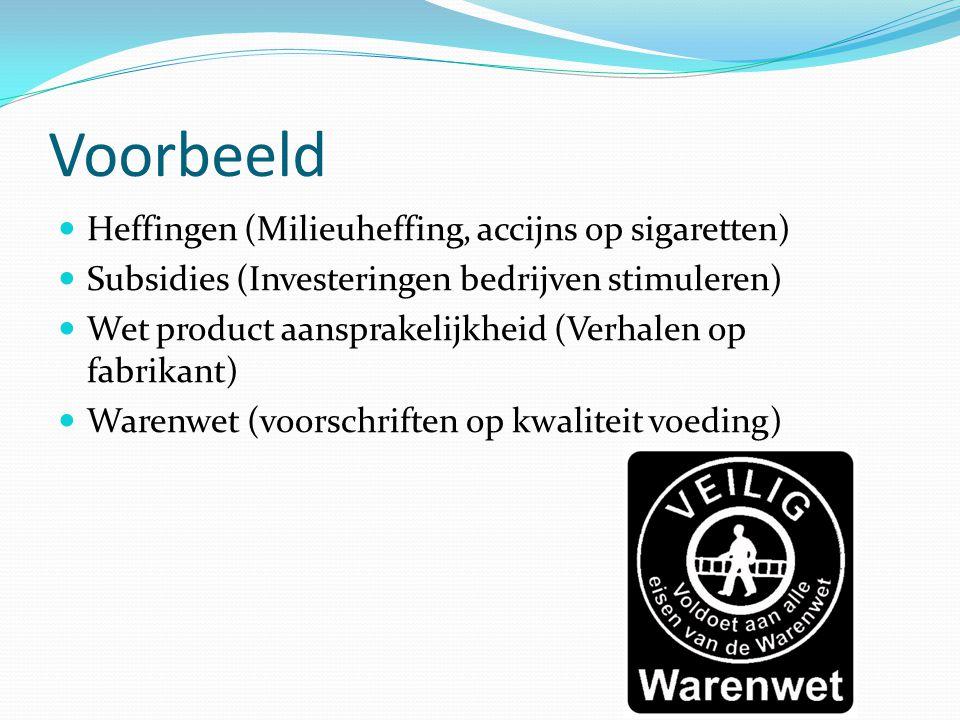 Voorbeeld Heffingen (Milieuheffing, accijns op sigaretten)