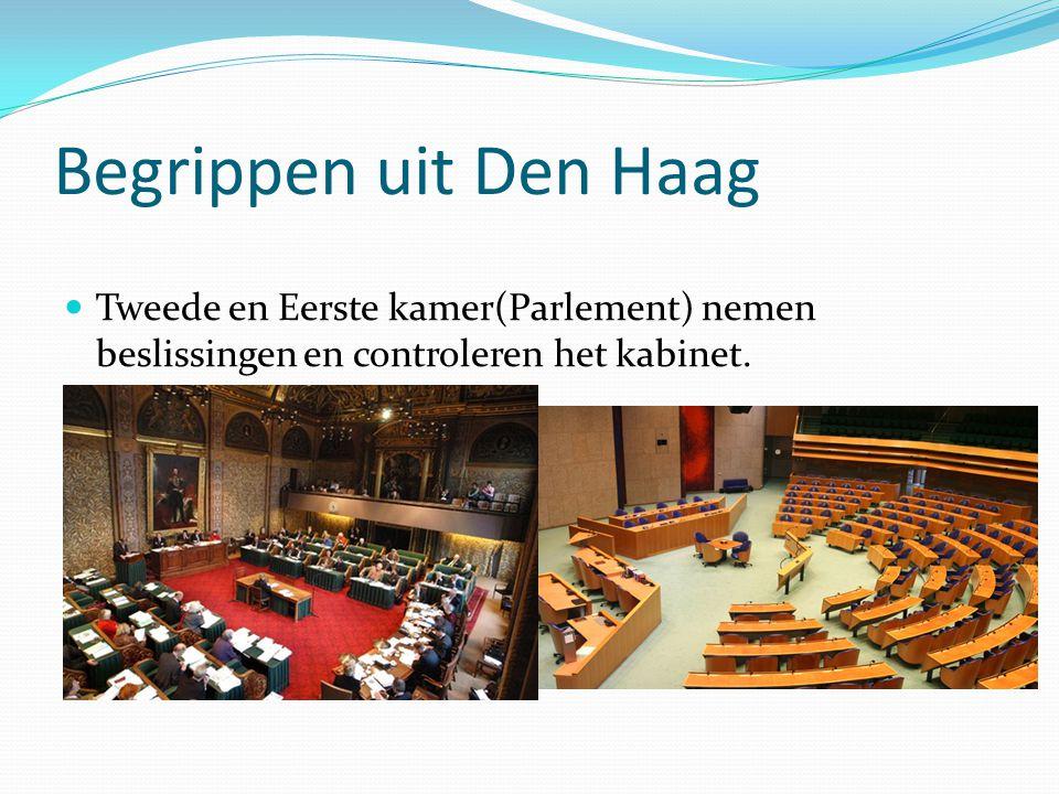 Begrippen uit Den Haag Tweede en Eerste kamer(Parlement) nemen beslissingen en controleren het kabinet.