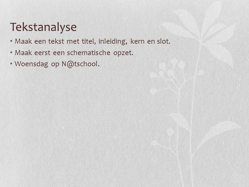 Tekstanalyse Maak een tekst met titel, inleiding, kern en slot.