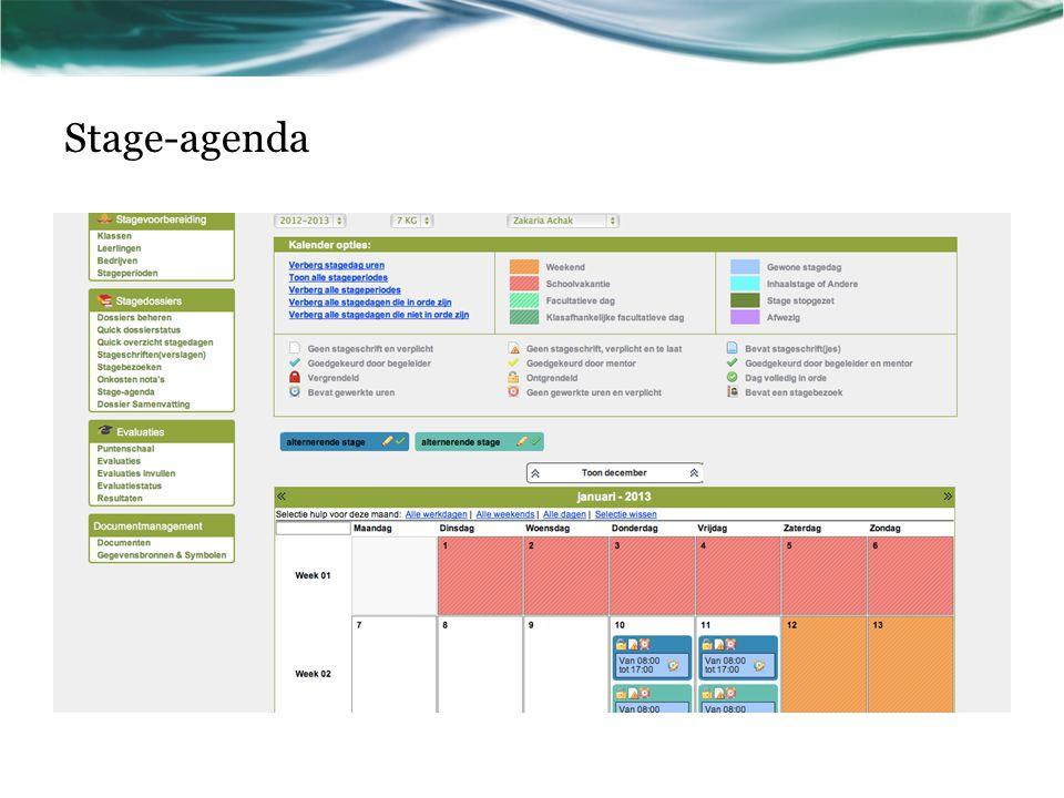 Stage-agenda Dupliceer, indien nodig, deze dia wanneer er meerdere problemen zijn.