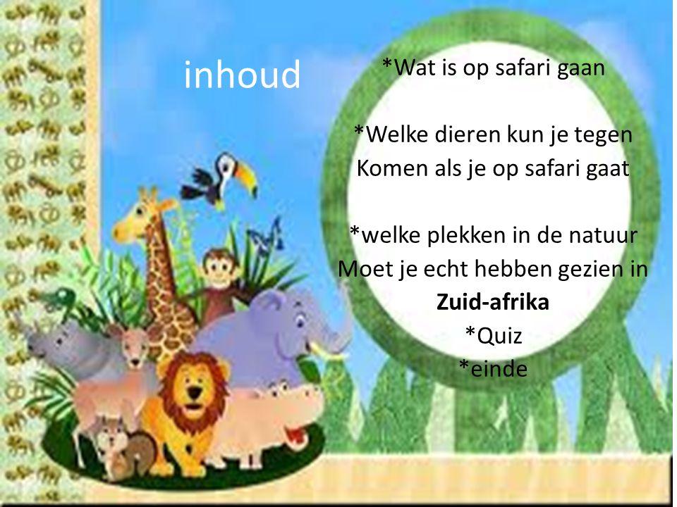inhoud *Wat is op safari gaan *Welke dieren kun je tegen