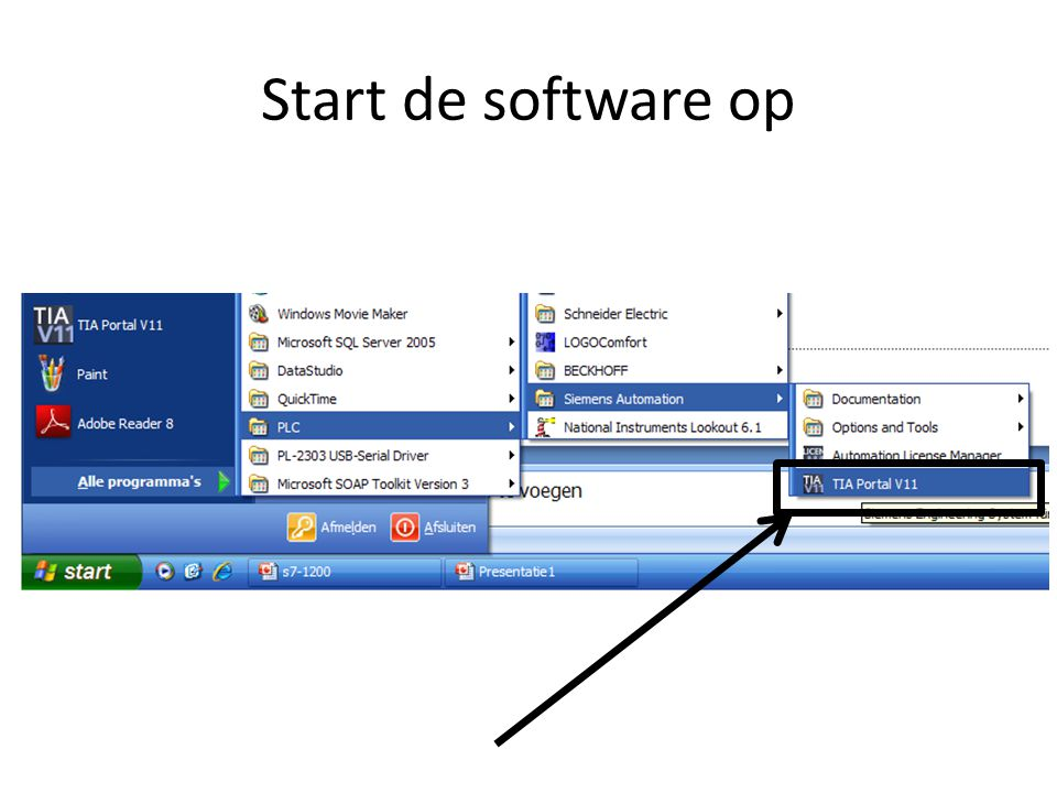 Start de software op