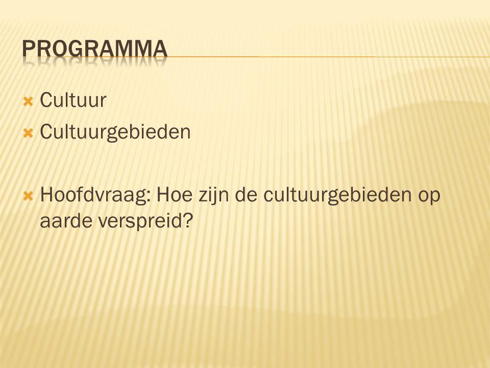 programma Cultuur Cultuurgebieden