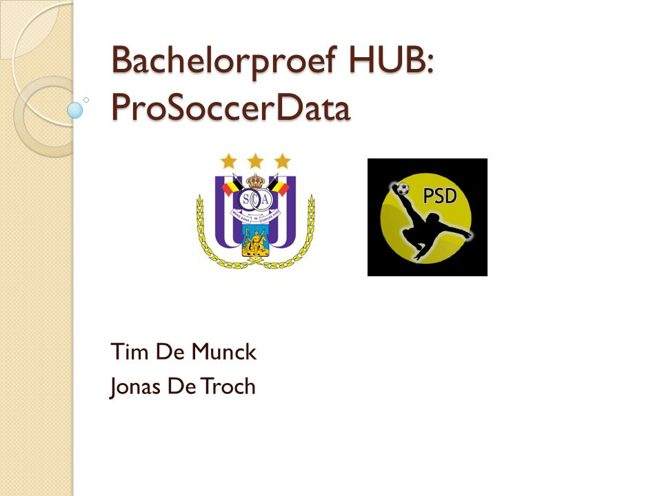 Bachelorproef HUB: ProSoccerData