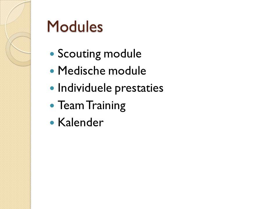 Modules Scouting module Medische module Individuele prestaties