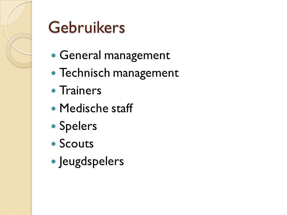 Gebruikers General management Technisch management Trainers
