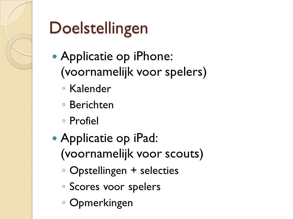 Doelstellingen Applicatie op iPhone: (voornamelijk voor spelers)