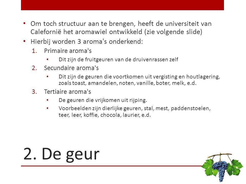 Om toch structuur aan te brengen, heeft de universiteit van Calefornië het aromawiel ontwikkeld (zie volgende slide)