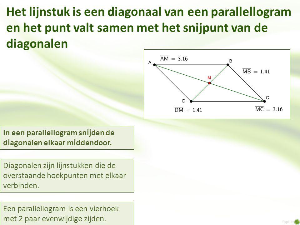 Het lijnstuk is een diagonaal van een parallellogram en het punt valt samen met het snijpunt van de diagonalen