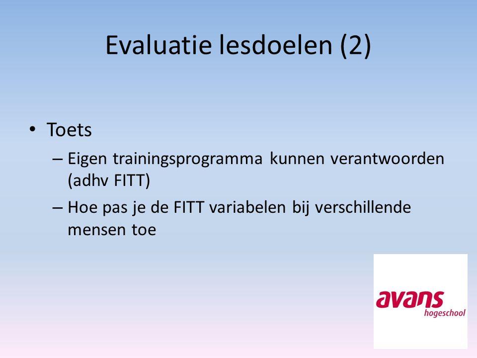 Evaluatie lesdoelen (2)