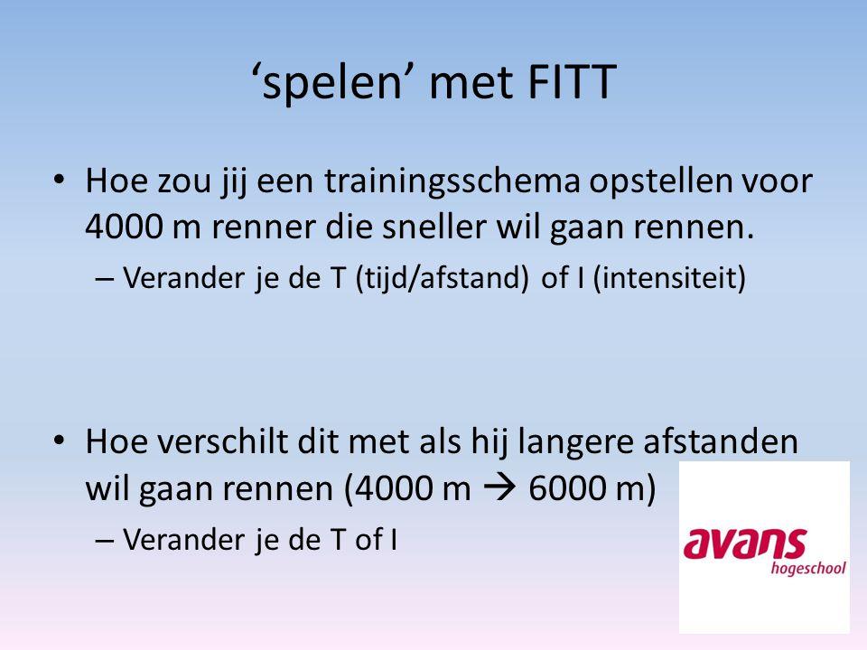 'spelen' met FITT Hoe zou jij een trainingsschema opstellen voor 4000 m renner die sneller wil gaan rennen.