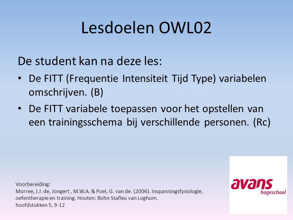 Lesdoelen OWL02 De student kan na deze les: