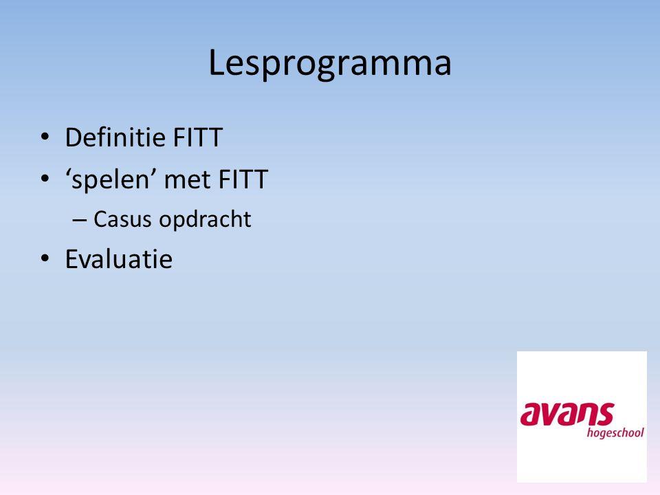 Lesprogramma Definitie FITT 'spelen' met FITT Casus opdracht Evaluatie