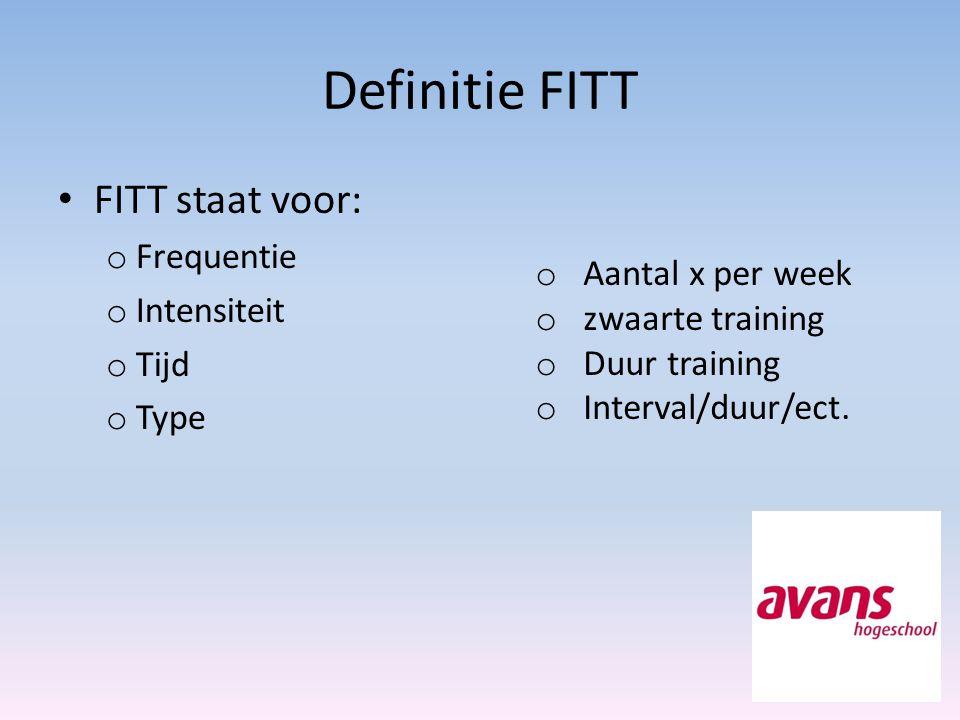 Definitie FITT FITT staat voor: Frequentie Intensiteit Tijd