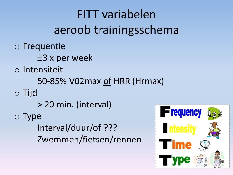FITT variabelen aeroob trainingsschema