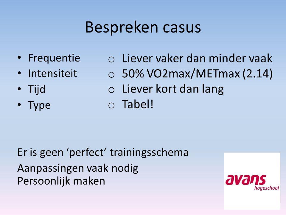 Bespreken casus Liever vaker dan minder vaak 50% VO2max/METmax (2.14)