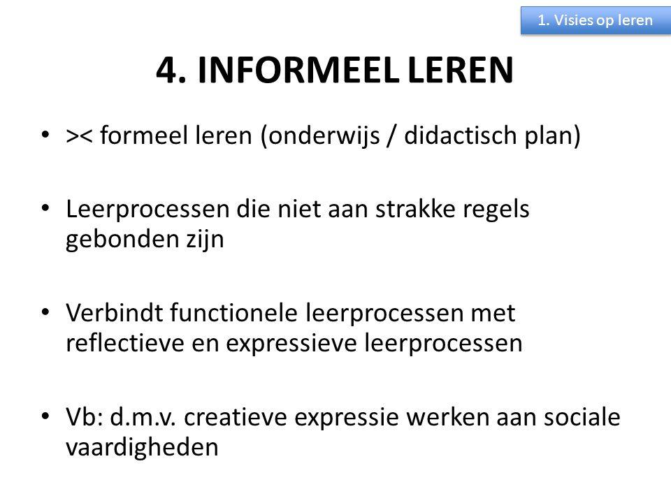 1. Visies op leren 4. INFORMEEL LEREN. >< formeel leren (onderwijs / didactisch plan) Leerprocessen die niet aan strakke regels gebonden zijn.