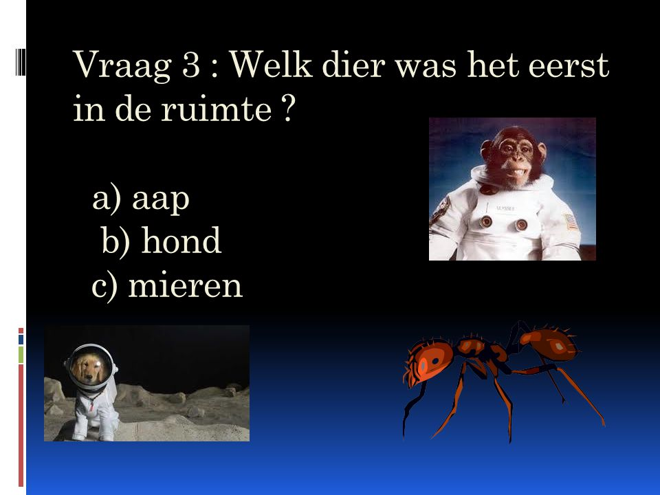 Vraag 3 : Welk dier was het eerst in de ruimte