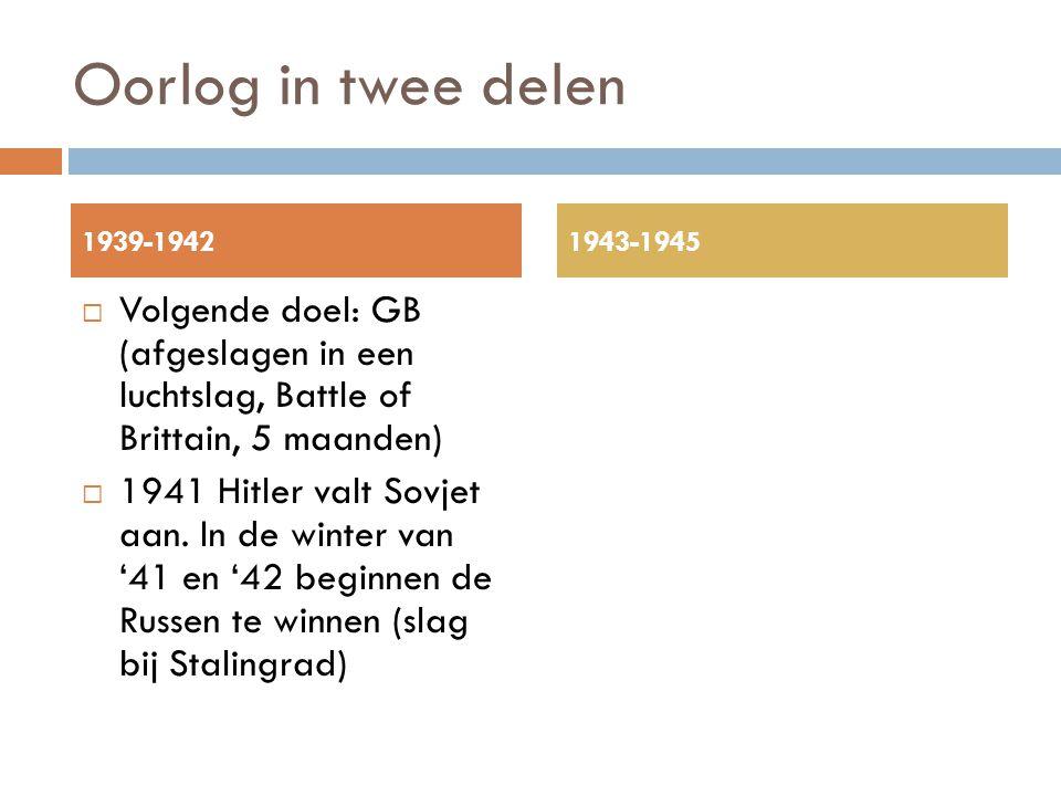 Oorlog in twee delen 1939-1942. 1943-1945. Volgende doel: GB (afgeslagen in een luchtslag, Battle of Brittain, 5 maanden)