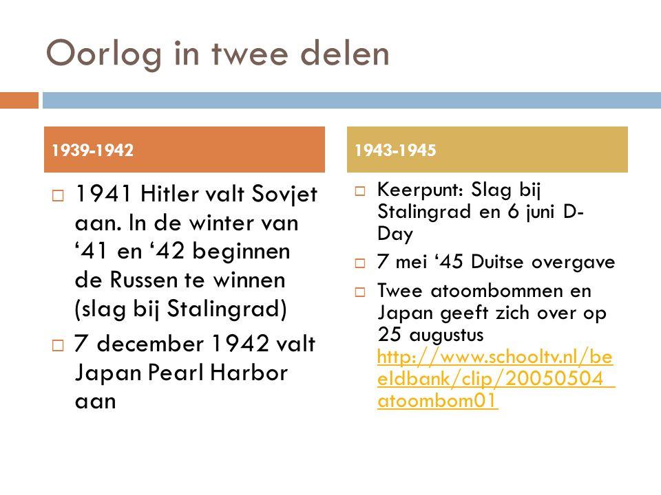 Oorlog in twee delen 1939-1942. 1943-1945.