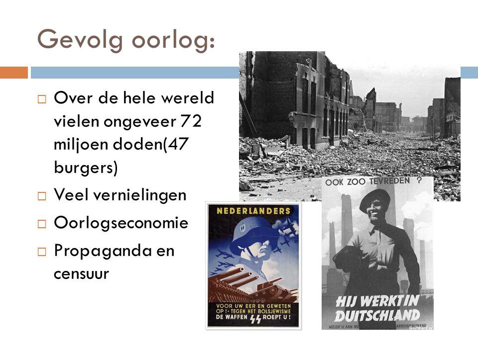 Gevolg oorlog: Over de hele wereld vielen ongeveer 72 miljoen doden(47 burgers) Veel vernielingen.