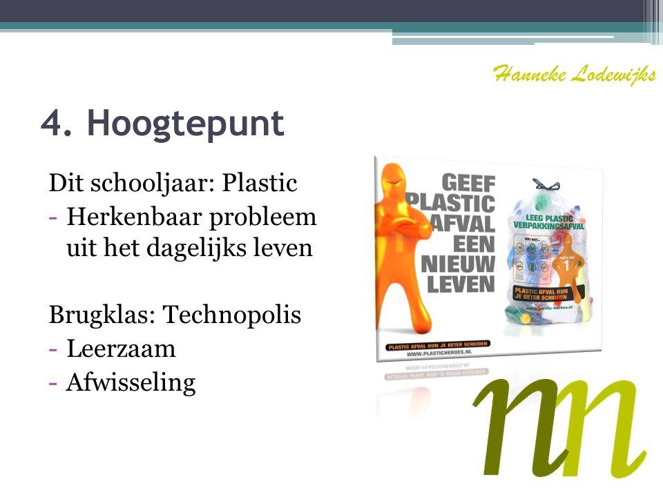 4. Hoogtepunt Hanneke Lodewijks Dit schooljaar: Plastic