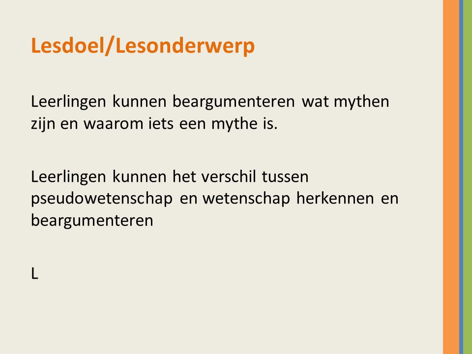 Lesdoel/Lesonderwerp