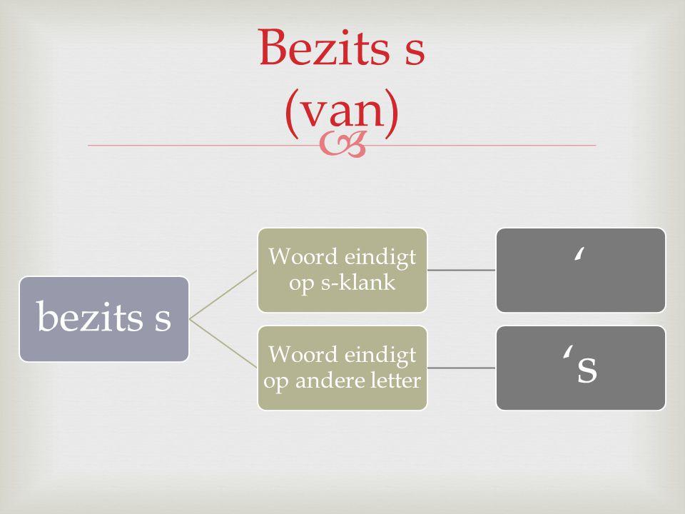 Bezits s (van) ' 's bezits s Woord eindigt op s-klank