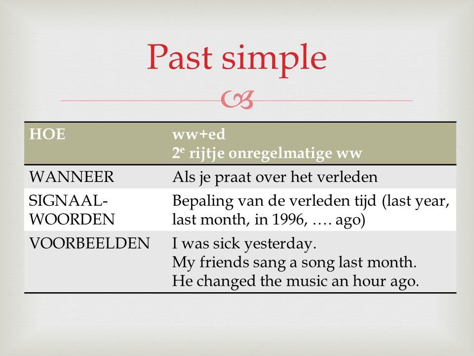 Past simple HOE ww+ed 2e rijtje onregelmatige ww WANNEER