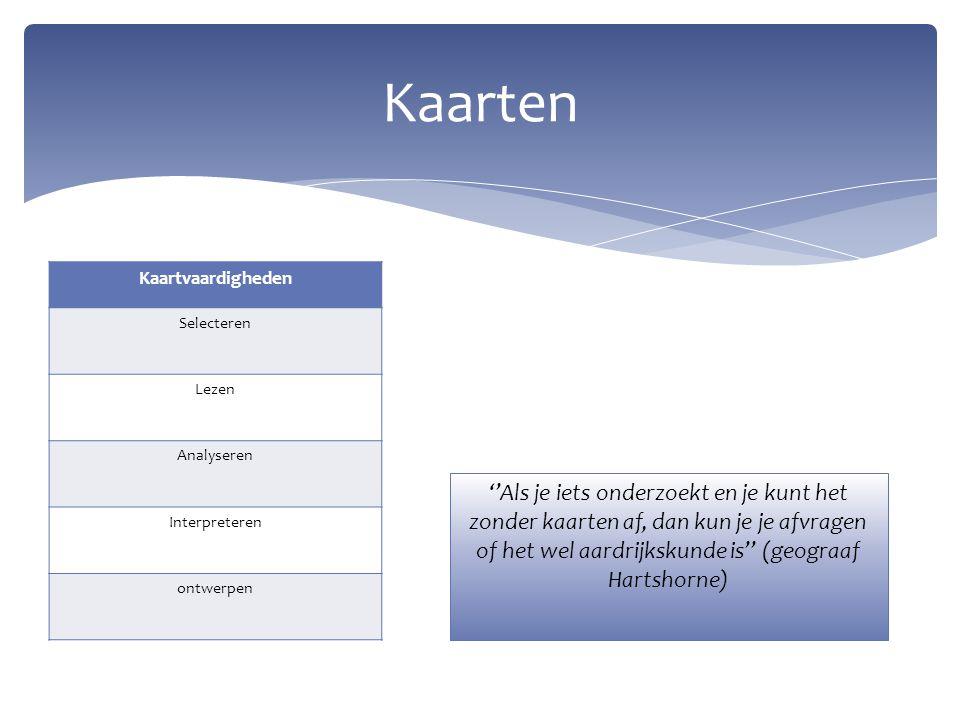 Kaarten Kaartvaardigheden. Selecteren. Lezen. Analyseren. Interpreteren. ontwerpen.