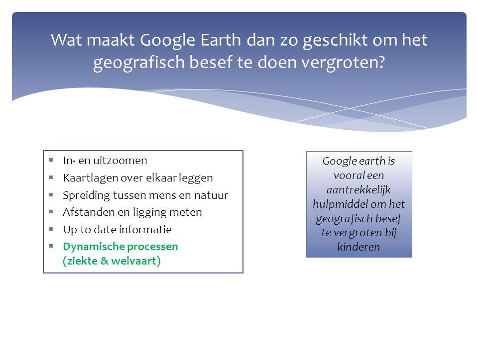 Wat maakt Google Earth dan zo geschikt om het geografisch besef te doen vergroten