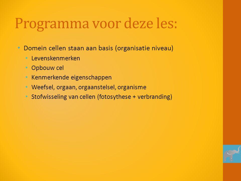 Programma voor deze les: