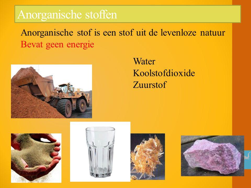 Anorganische stoffen Anorganische stof is een stof uit de levenloze natuur Bevat geen energie.