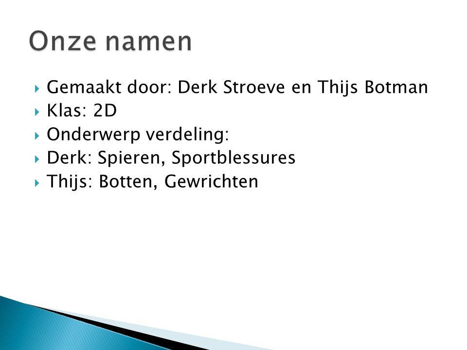 Onze namen Gemaakt door: Derk Stroeve en Thijs Botman Klas: 2D