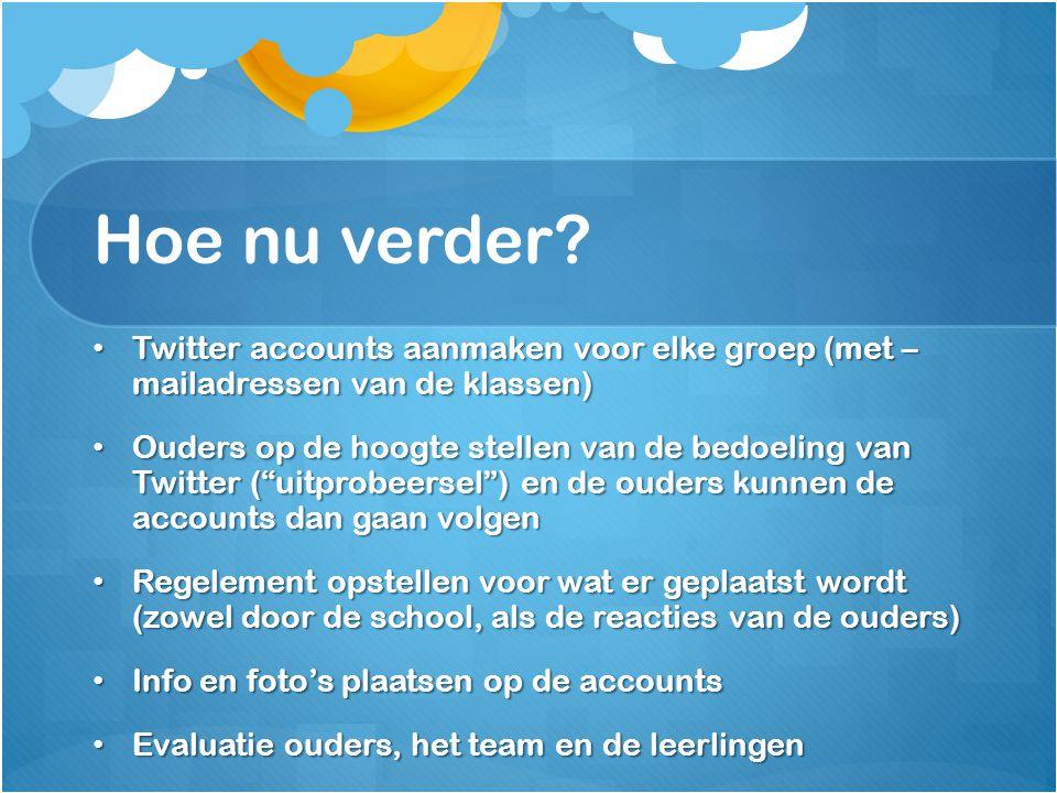 Hoe nu verder Twitter accounts aanmaken voor elke groep (met – mailadressen van de klassen)