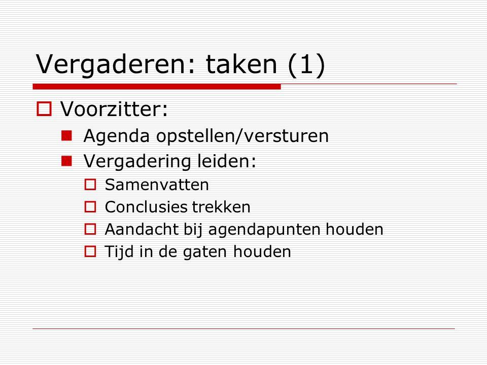 Vergaderen: taken (1) Voorzitter: Agenda opstellen/versturen
