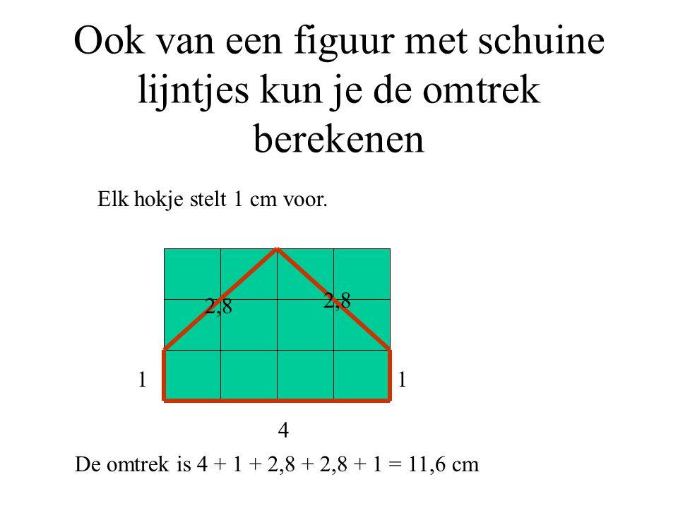 Ook van een figuur met schuine lijntjes kun je de omtrek berekenen