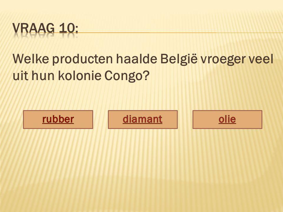Welke producten haalde België vroeger veel uit hun kolonie Congo