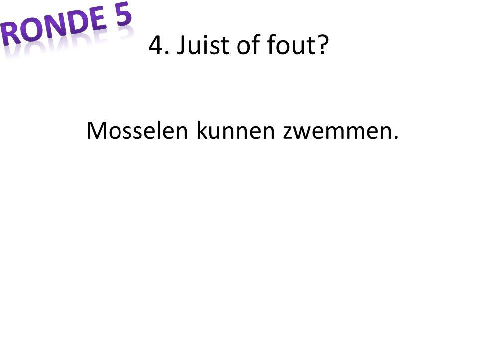 Ronde 5 4. Juist of fout Mosselen kunnen zwemmen.