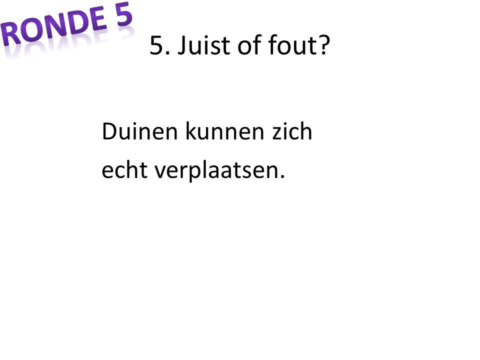 Ronde 5 5. Juist of fout Duinen kunnen zich echt verplaatsen.