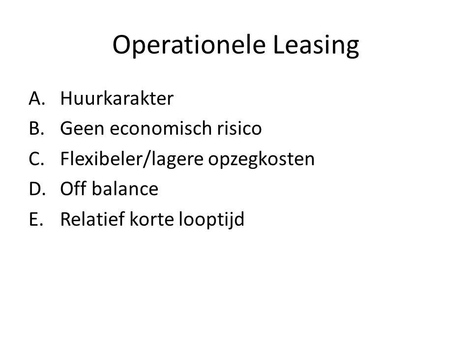 Operationele Leasing Huurkarakter Geen economisch risico