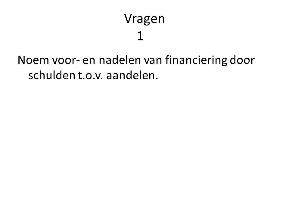 Vragen 1 Noem voor- en nadelen van financiering door schulden t.o.v. aandelen.