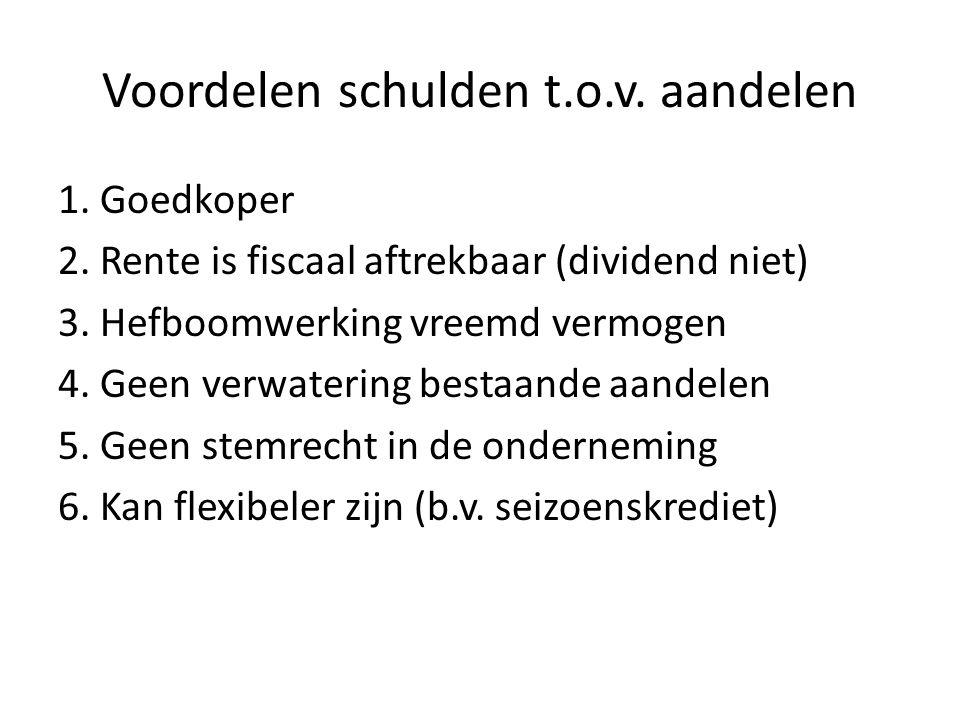 Voordelen schulden t.o.v. aandelen