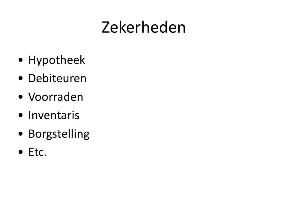 Zekerheden Hypotheek Debiteuren Voorraden Inventaris Borgstelling Etc.