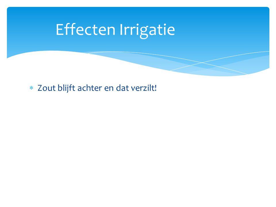 Effecten Irrigatie Zout blijft achter en dat verzilt!