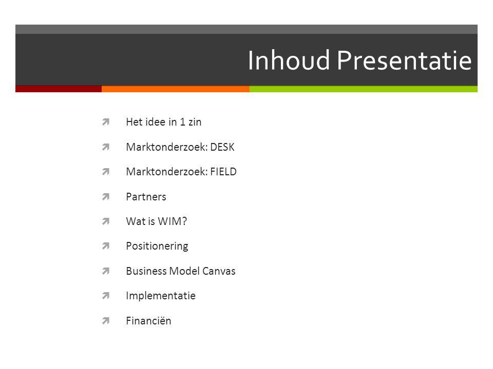 Inhoud Presentatie Het idee in 1 zin Marktonderzoek: DESK