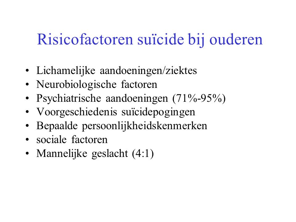 Risicofactoren suïcide bij ouderen